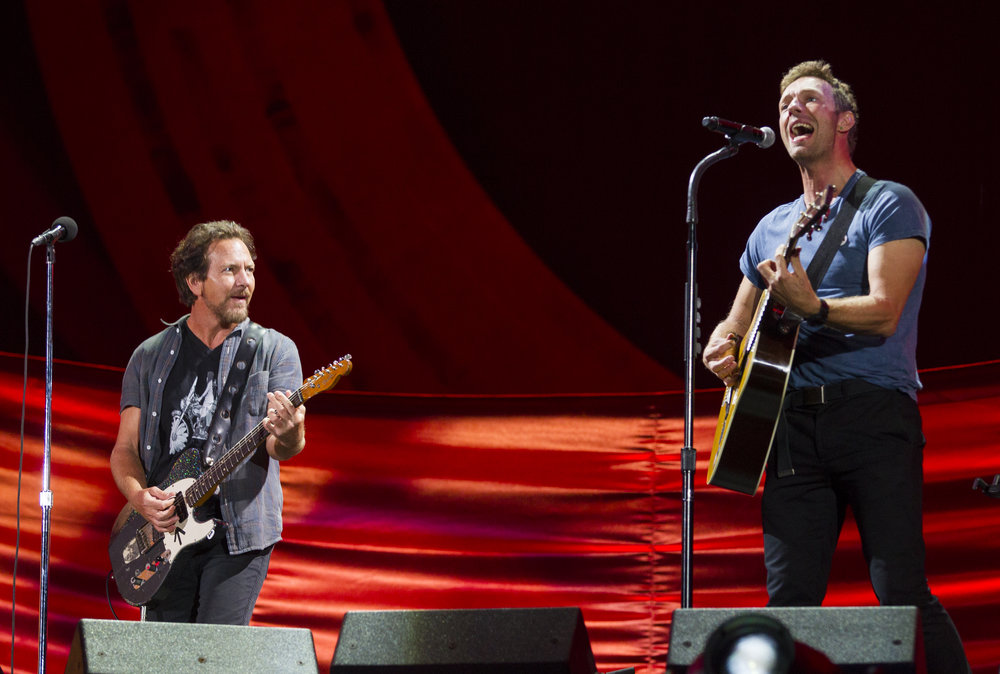 Eddie Vedder and Chris Martin