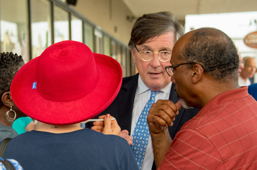 "Gubernatorial candidate Craig Fitzhugh meets local Democrats at Razzleberry's ""Meet and Greet"" Photo by John Todd Waterman"