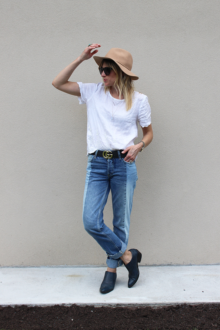 Jeans and a linen tee