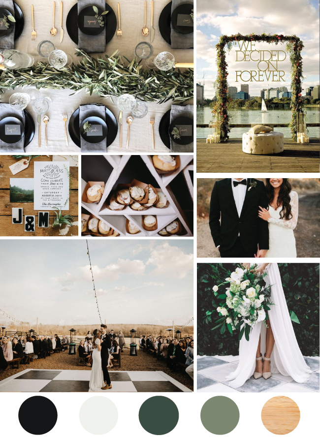 Modern Black and White Wedding with Boho Flair