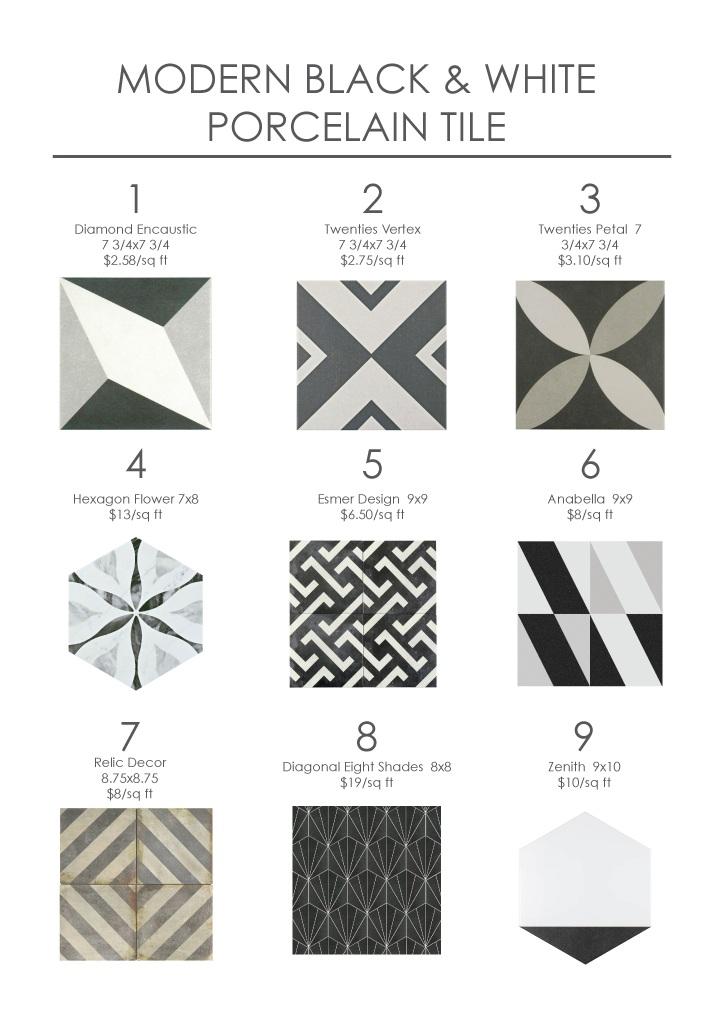 Modern Black & White Porcelain Tile
