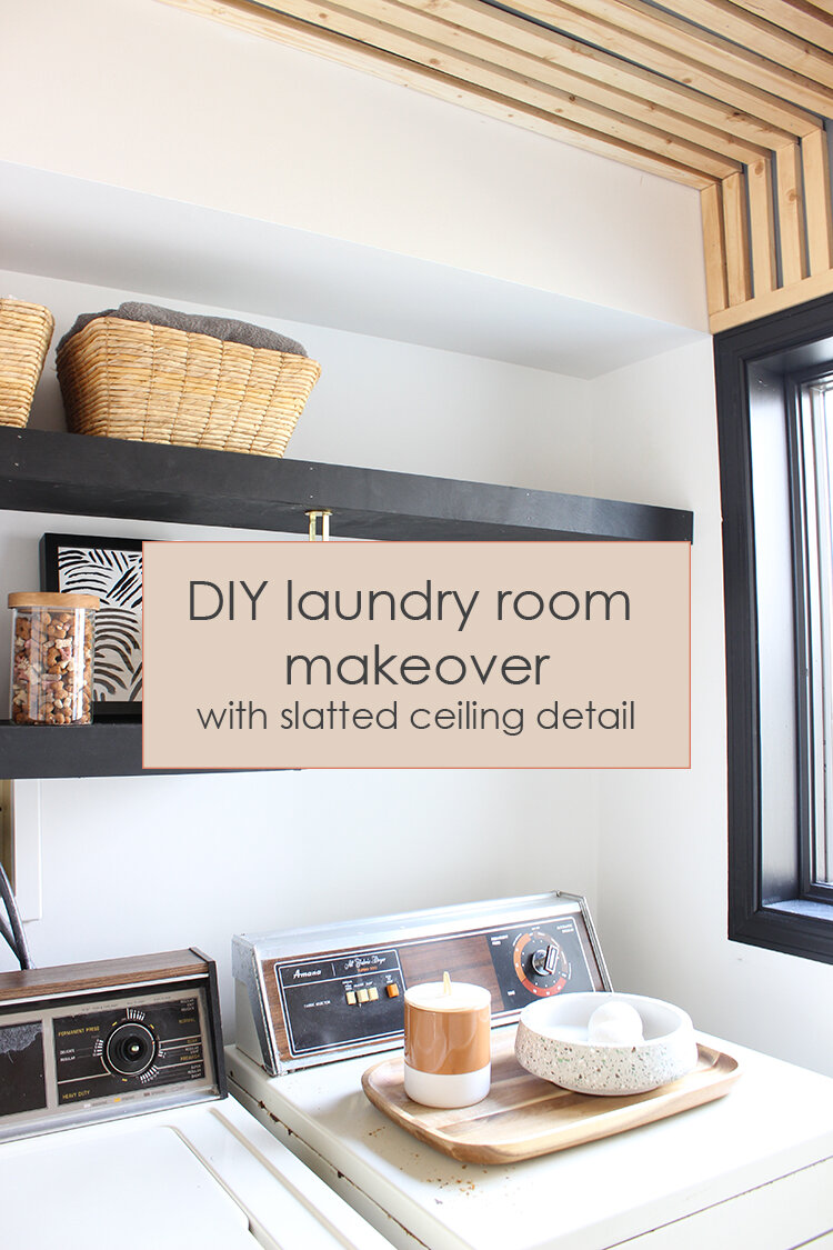 Diy Laundry Room Makeover With Slatted Ceiling Lauren Koster Creative