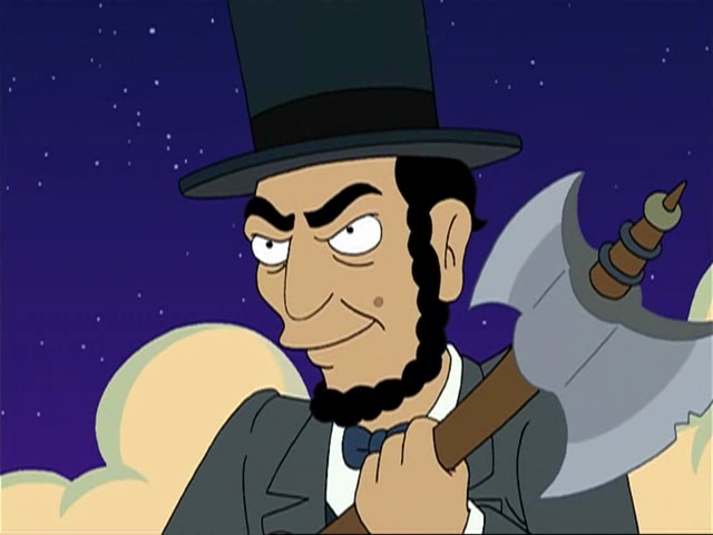 """Real holographic simulated evil Lincoln is back!!!"" Malfunctioning Holodeck scene, Futurama"
