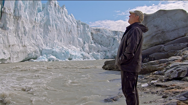 There goes the planet! Al Gore visits a rapidly melting ice sheet.