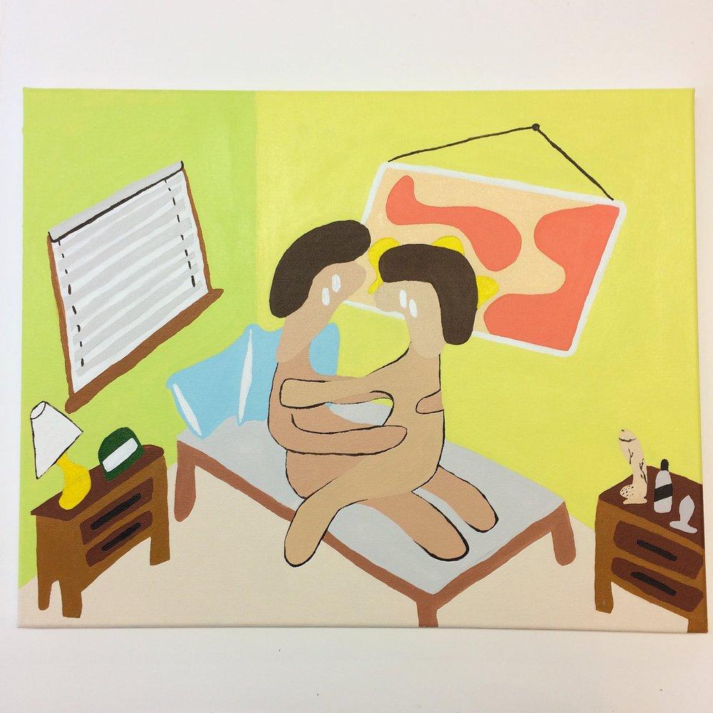 """""""Dos cuerpos cojiendo."""" Acrylic on canvas, 2017."""
