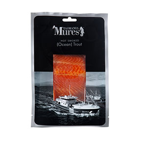 Hot Smoked Ocean Trout  Portions or fillets A deliciously smoky canapé topping or simply flake through pasta, risotto or salad Shelf life: 28 days