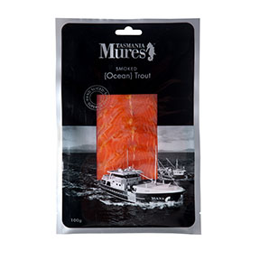 Cold Smoked Ocean Trout  100g, 200g, 500g or fillet – all sliced Wood smoked with Tasmanian Oak and hand sliced for superior quality Shelf life: 33 days