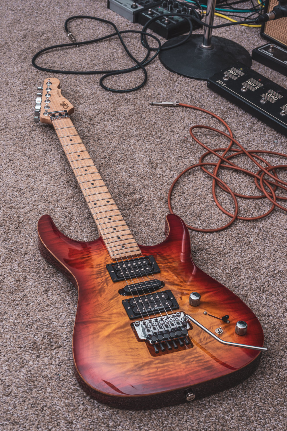 A wonderfully figured maple top with excellent color and depth.