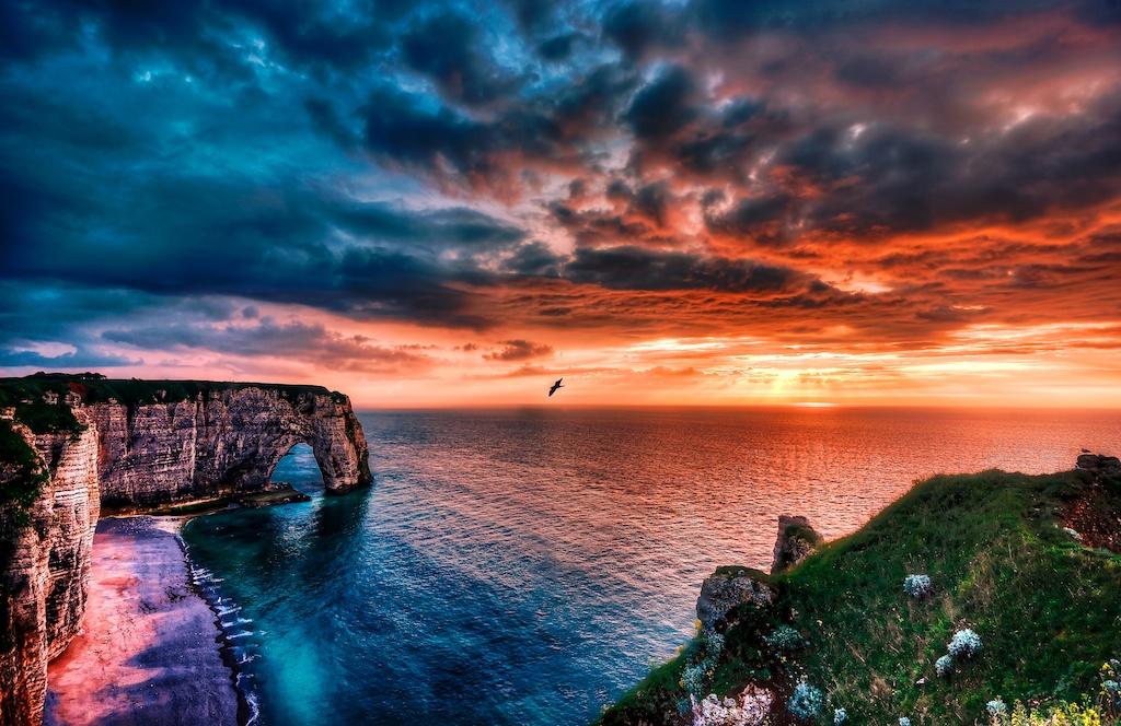 A dreamy sunset ove the Etretat Cliffs.