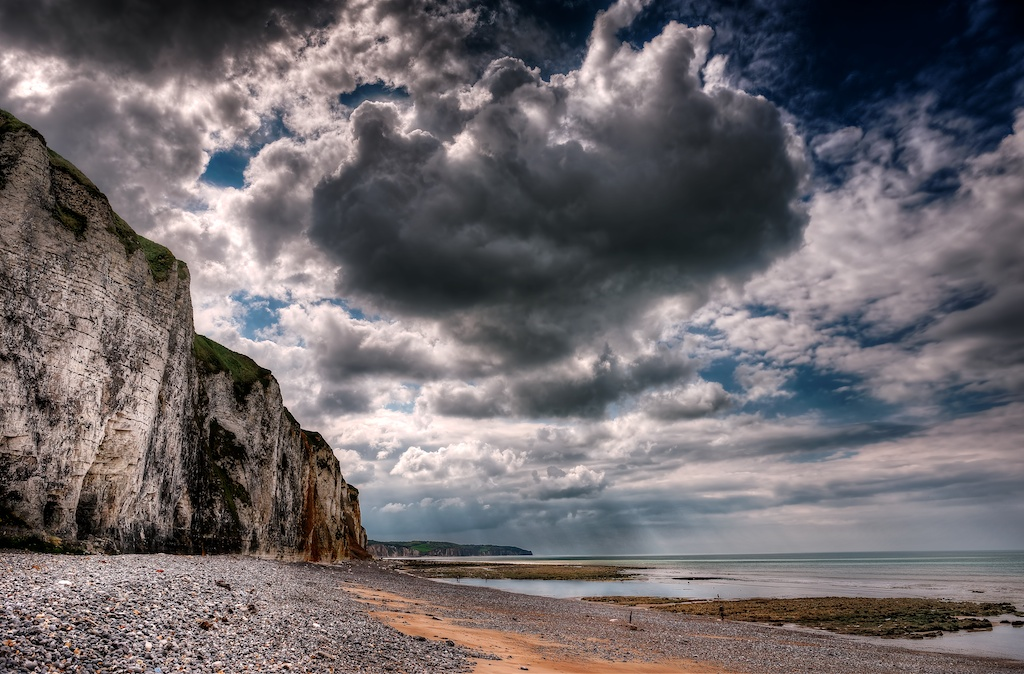 A coastal view of the famous Albaster Coast in Dieppe, France