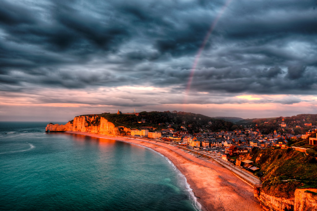 Etretat town golden hour panorama with rainbow - Version 3