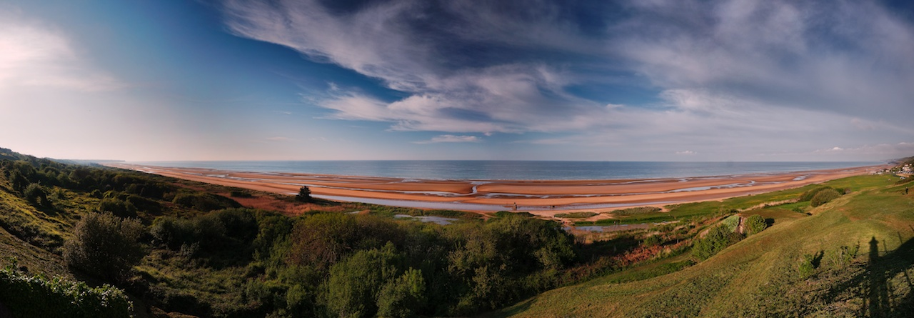 A panoramic view of Omaha Beach from a german bunker.