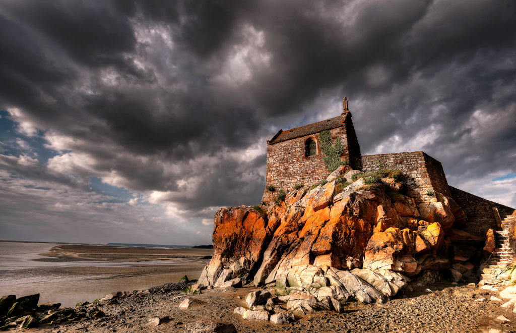 The small Saint Aubert Chapel is reachable only during the low tide period.