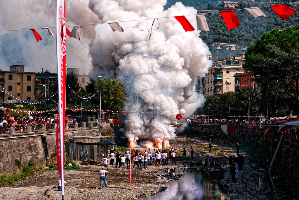 Recco, Genova, Italy, Festival of fire moment