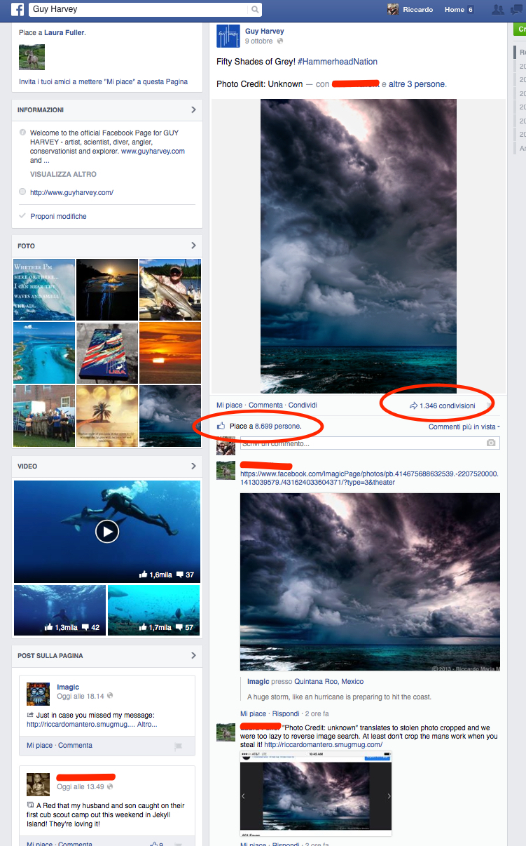 Guy Harvey Facebook Page with my stolen image