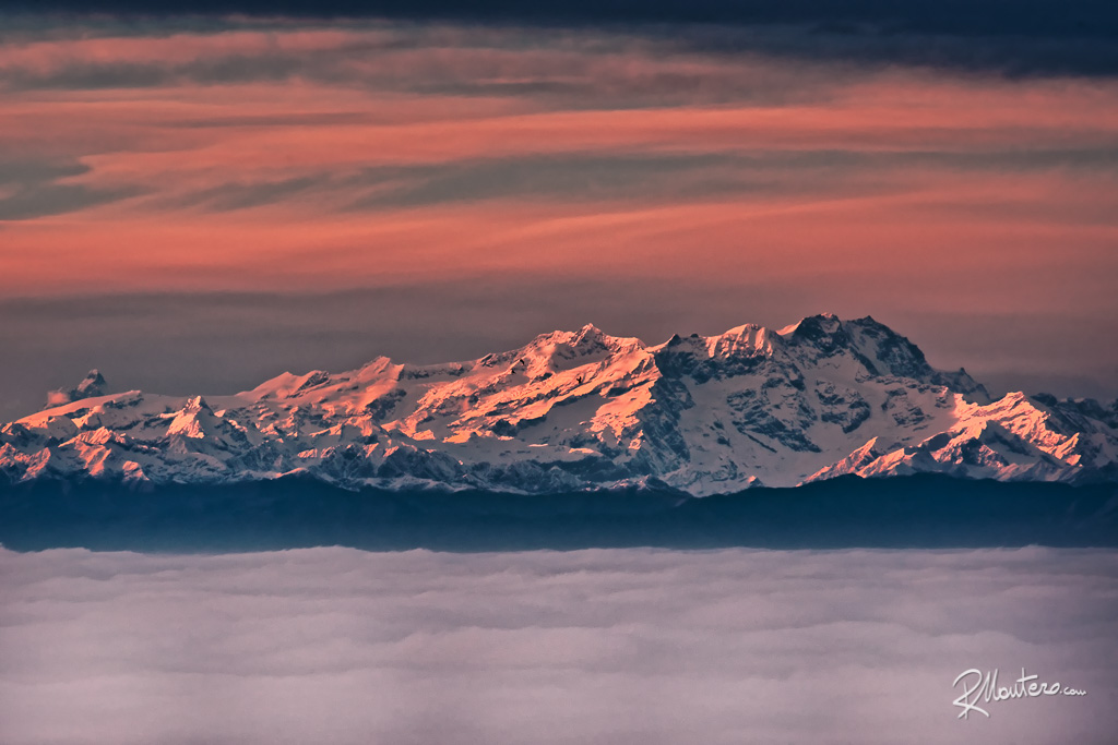 The Monte Rosa in a dramatic pink sunset