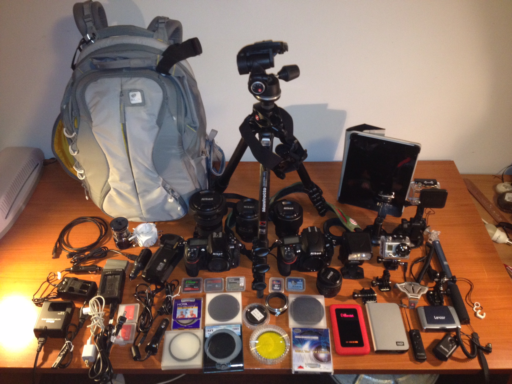 Attrezzatura: My Photo gear on a bench