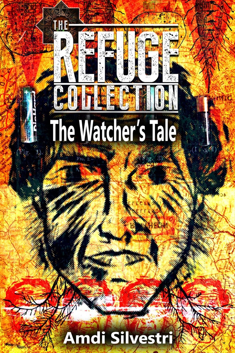 Den originale forside til The Watcher's Tale, der blev skrevet til det australske shared world-koncept The Refuge Collection. Kunstner: Chris Roberts