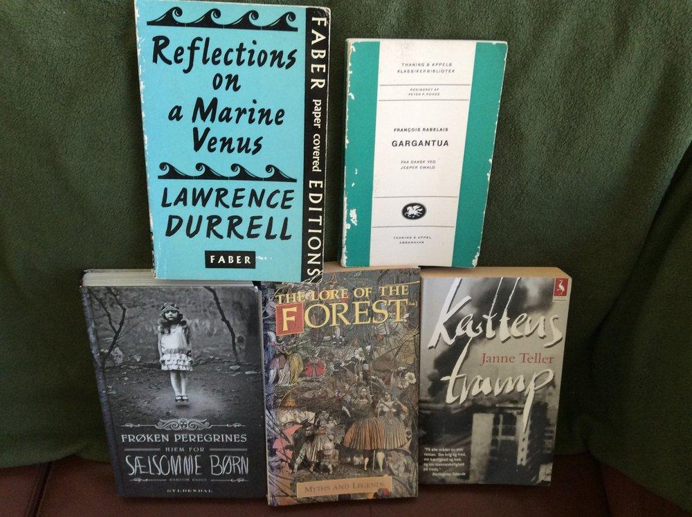 Fem af de bøger jeg nævner i dette indlæg.
