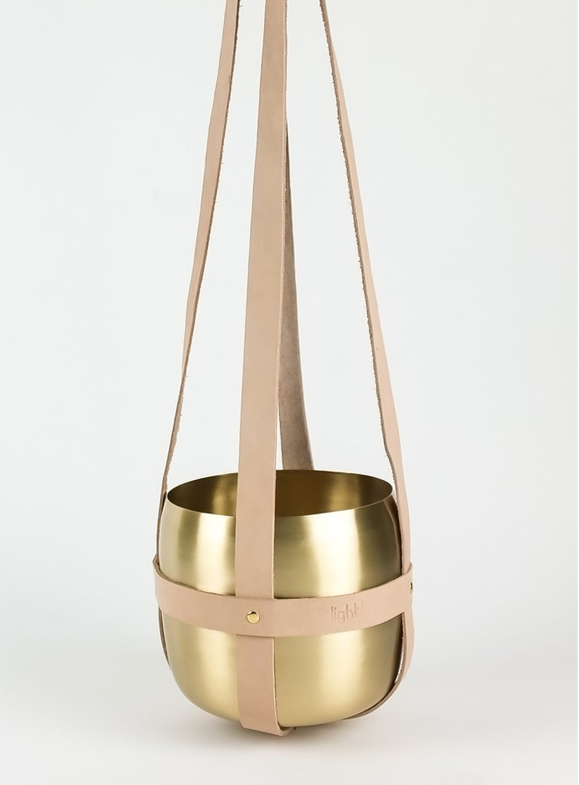 Leather Hanger Nude with Brass Pot - Arrival Hall - $79.00