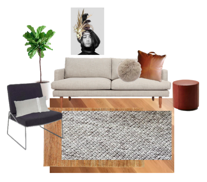 Sofas Direct Fitz Sofa  /  Armadillo & Co River Weave Rug  /  Armadillo & Co Sierra Weave Rug - Pumice  /  Grazzia and Co Rollo Ottoman - Aniline Tan Leather  /  Linn Wold - Crow & Feathers   /  Tibetan Sheepskin Round Cushion  /  MRD Home Aren Leather Cushion Dark Tan  / MRD Home Annika Pillow Natural