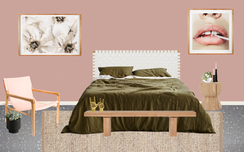 Fenton and Fenton Leather Strapping Bedhead  /  Moss Linen Duvet Set  /  Fenton and Fenton Woodrow Hourglass Stump  /  Globewest Ethnicraft Double Bench  /  Barnaby Lane Smith Armchair   /  Nathan + Jac 'Lollipop' by Nastia  /  Me Oh My Cream Puff  /  Norsu Interiors Armadiilo & Co Kalahari Weave Rug - Natural & Chalk  /  Lightly Bon Bon Vase  /  Fenton and Fenton Brass Hands  /  Zakkia Podium  Pot