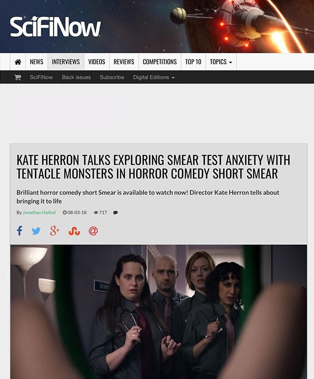 Thanks Sci-Fi now for your write-up on our demented creature short SMEAR - https://www.scifinow.co.uk/interviews/kate-herron-talks-exploring-smear-test-anxiety-with-tentacle-monsters-in-horror-comedy-short-smear/ #womenincomedy #femalefilmmakers #wearetheweirdosmister #internationalwomensday