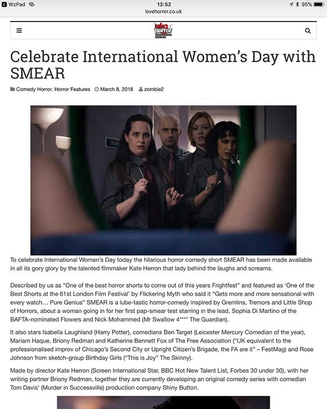 Thanks to LOVEHORROR for their article on Smear  Read it here: http://lovehorror.co.uk/horror-features/celebrate-international-womens-day-smear/ #internationalwomensday #womeninhorror