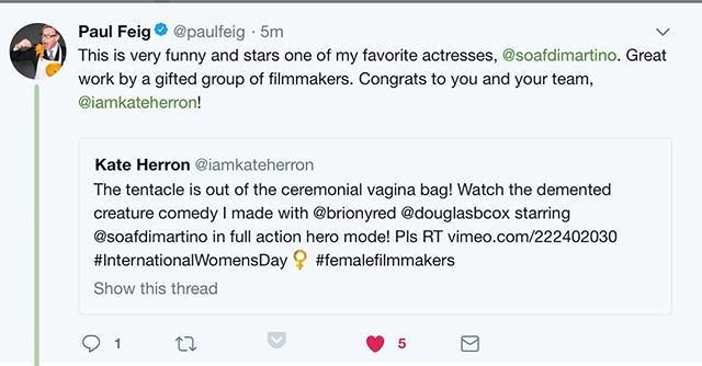 As classy as the suits he wears! Thanks for the shout-out Paul Feig for our short comedy SMEAR https://t.co/6i5yqdcFd0 #inwd2018 #femalefilmmakerfriday https://t.co/VYYPhVOhfG