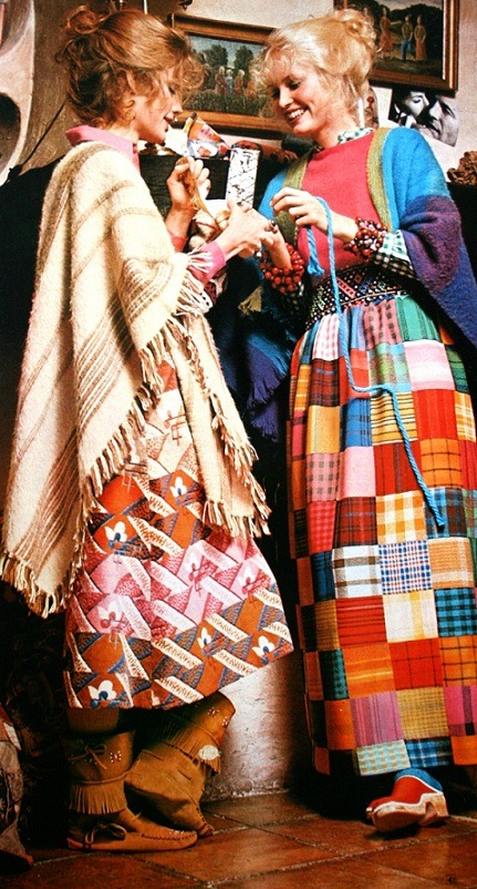Unaccredited designer in an image from Elle magazine in the 70s, here's my source:    http://simplymagdorable.tumblr.com/post/58769472272/multi-colored-patchwork-fashion-early-1970s