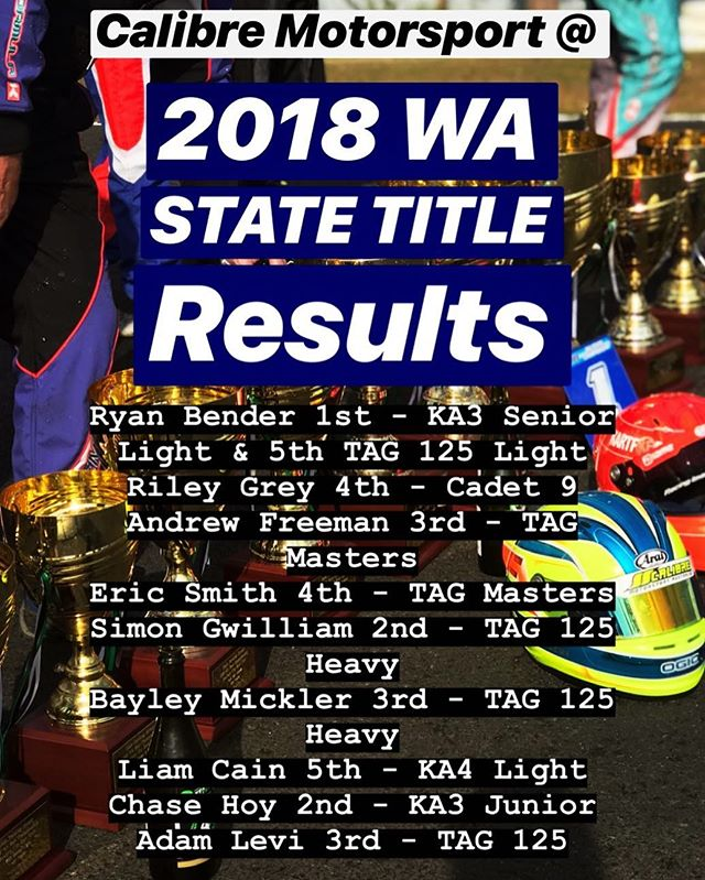 Stoked and proud of the results for the Calibre Motorsport team at the 2018 WA State Titles 🏆🏆🏆 | #calibremotorsport