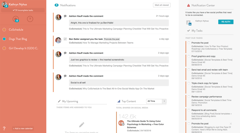 The Healthy Life Project CoSchedule Dashboard View