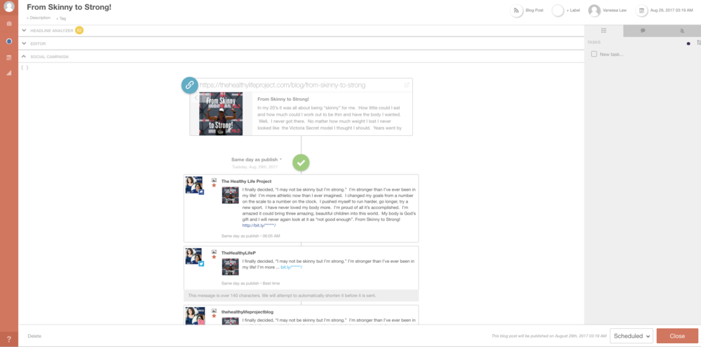 CoSchedule Social Campaign View for The Healthy Life Project