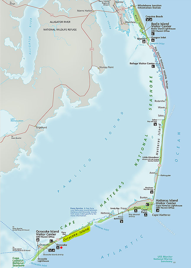 Map of Cape Hatteras National Seashore.