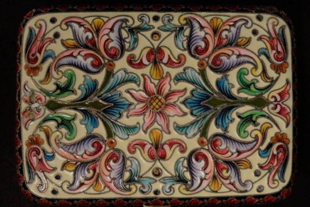 Antique russian silver enamel cigarette case by master feodor ruckert