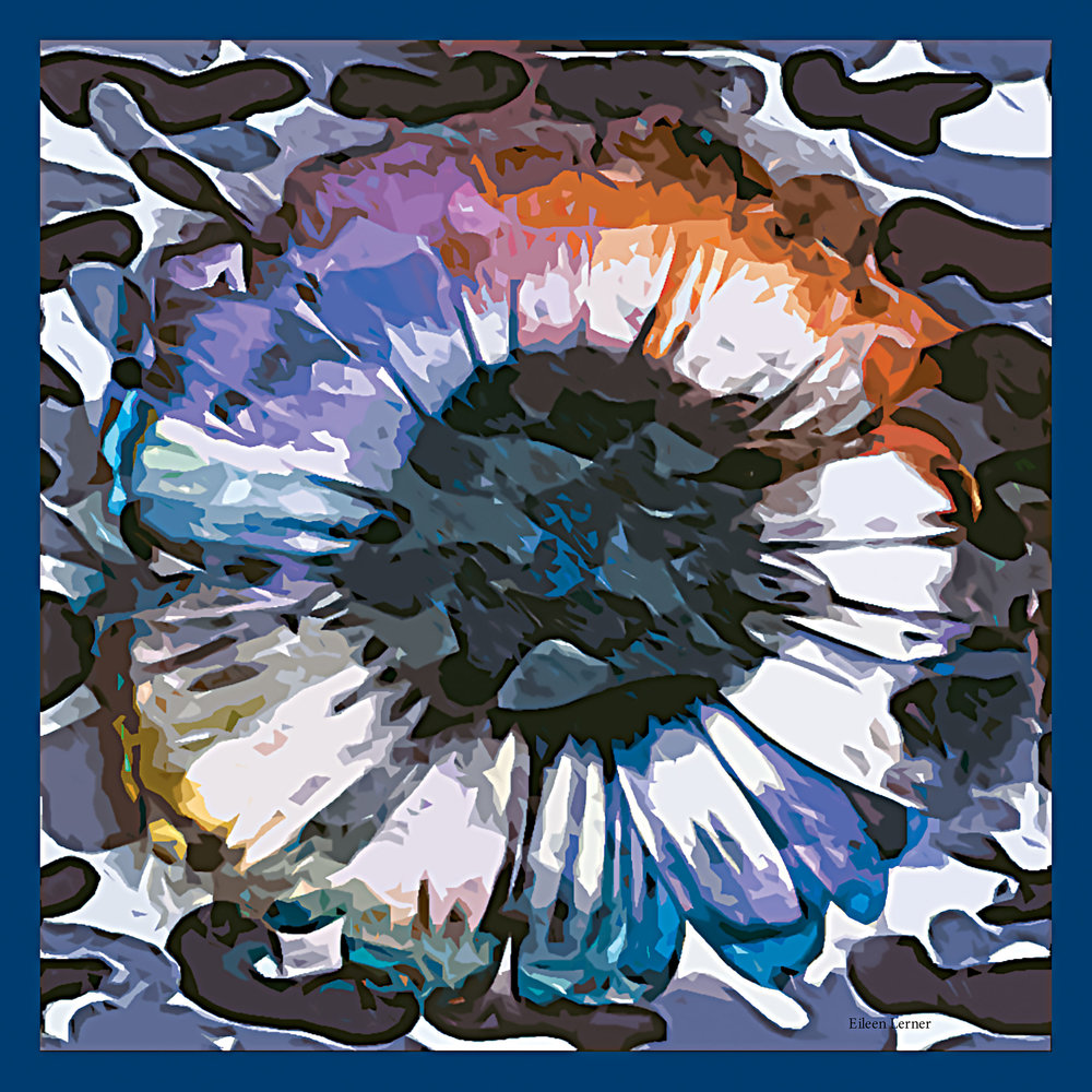 "Blue Cosmos Camo 26"" Square Silk Mini Scarf Coming Soon for Spring 2018-"
