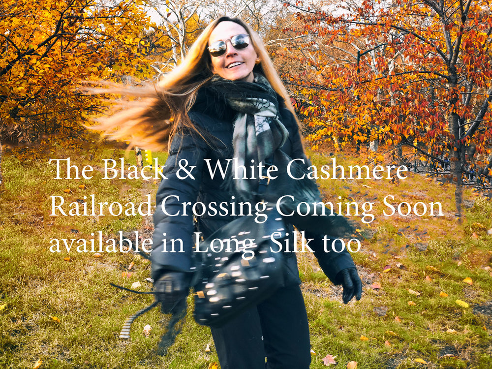 Black and White Cashmere Railroad Crossing available in Silk too -getting ready for fall -