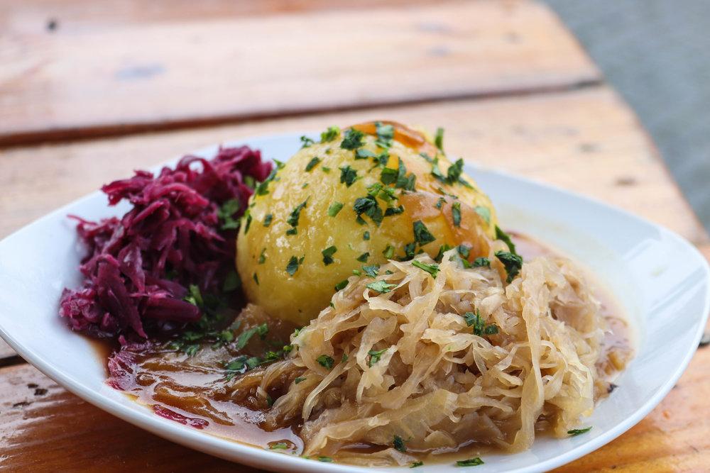 Vegan dumplings from Munich's Medieval's Christmas Market