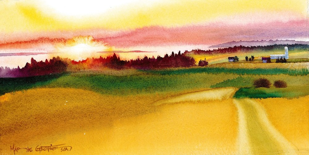 Coucher de soleil à Kamouraska 35X150 cm 295$