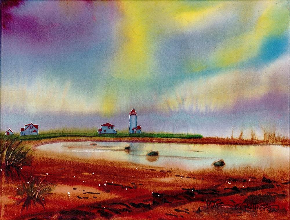 Les aurores à l'Île-Verte 36x20 cm 295$