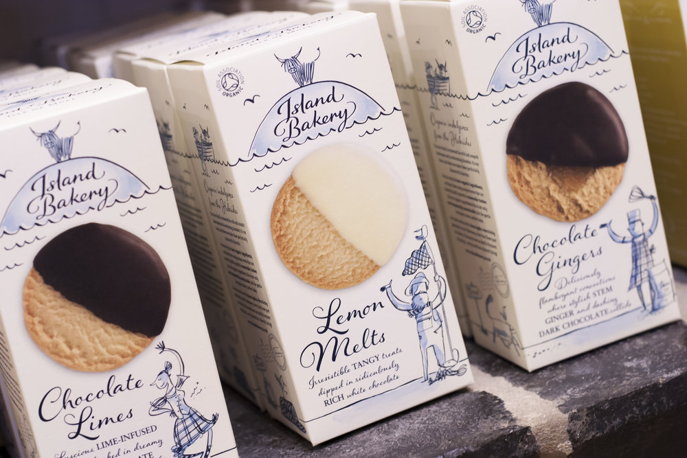Boxes of Island Bakery biscuits