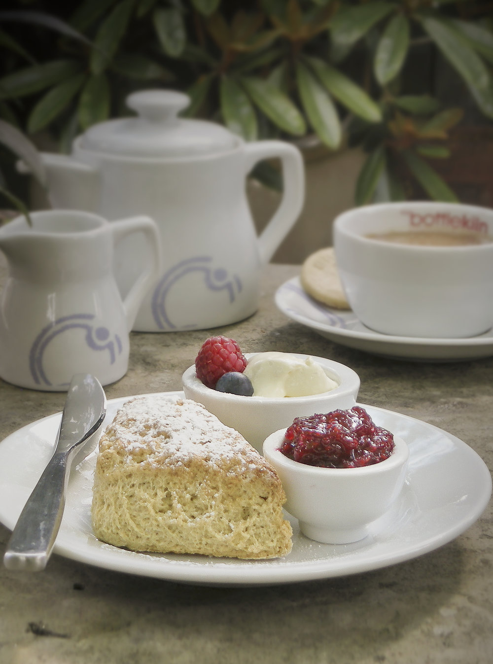 Photo of scone on plate with jam and cream