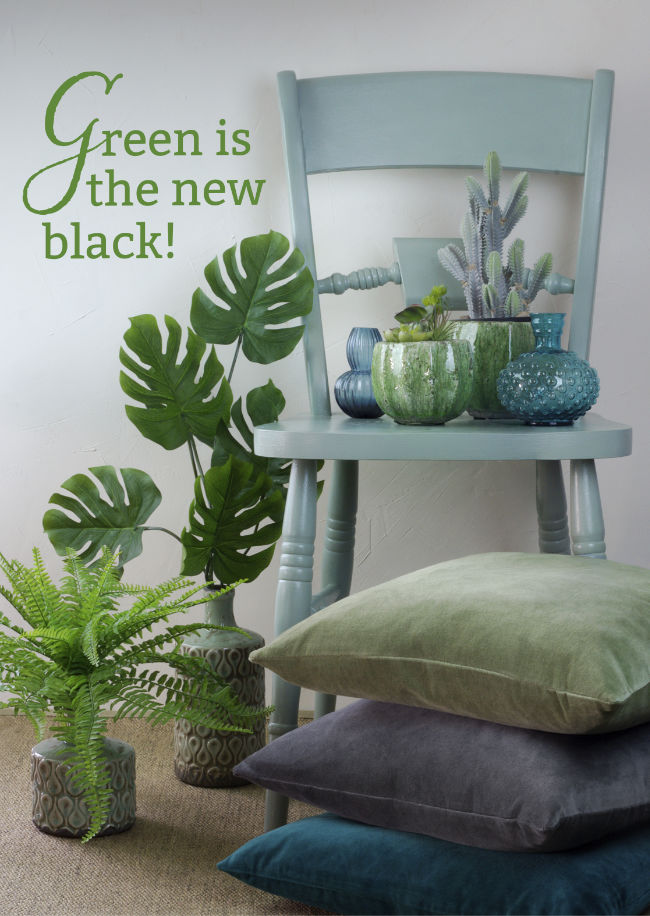 Vases and planters 5.50 - 14.95 each. Artificial succulent, 12.50 and potted cactus, 25.00. Velvet cushions, 27.50 each.
