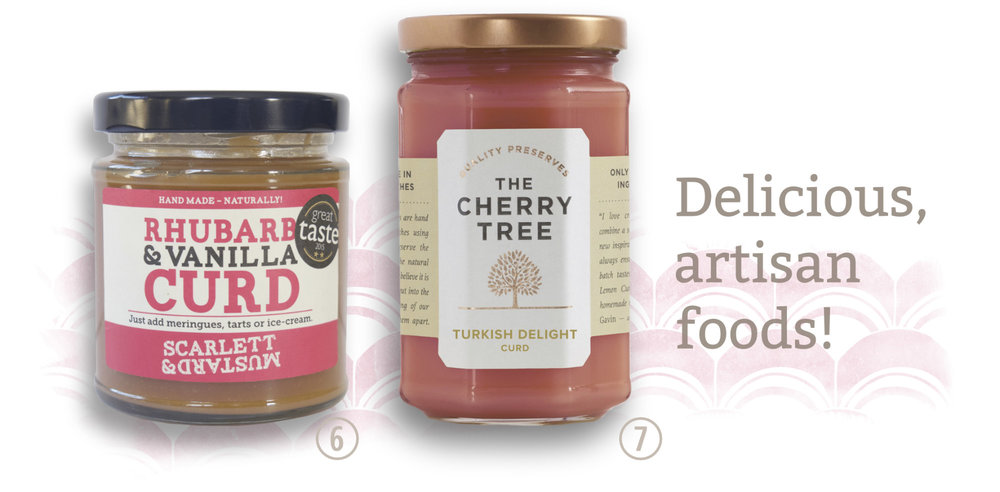 Artisan foods. Scarlet & Mustard, rhubarb & vanilla curd. The Cherry Tree, Turkish Delight curd.