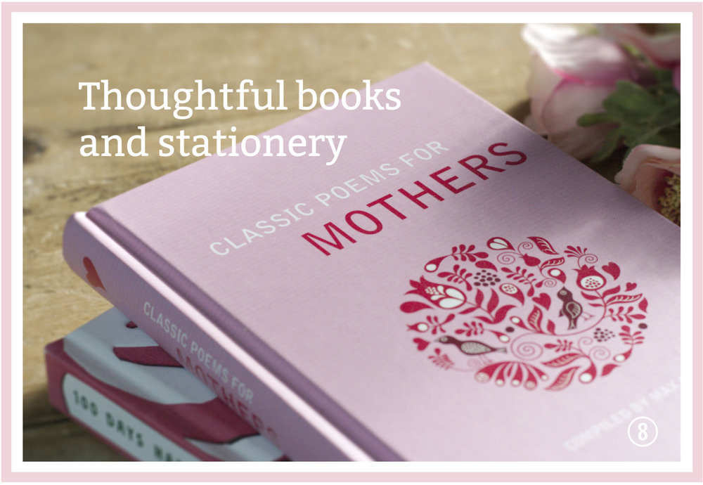 Artisan foods. Scarlet & Mustard, rhubarb & vanilla curd. The Cherry Tree, Turkish Delight curd. And, thoughtful books for Mother's Day including a book of poems.