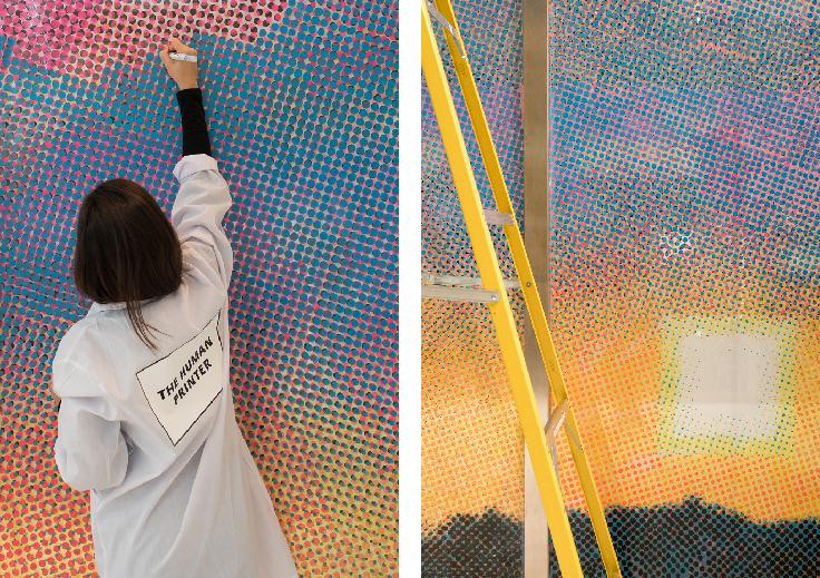 Minecraft Sunset, acrylic marker pen on 5mm PVC vinyl, total artwork 3678 x 2750mm
