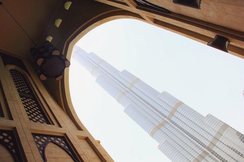 The Burj Khalifa seen from the Dubai Mall.
