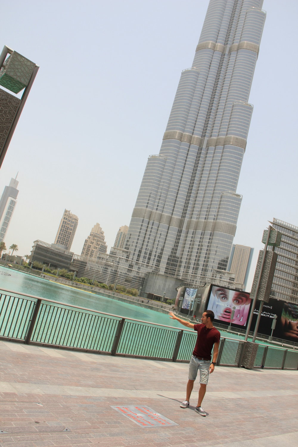Walking around the plaza in front of the Burj Khalifa and the Dubai Mall. Literally feeling the heat that surrounds you.