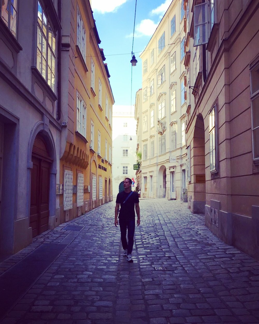 Alleyways full of history.  This one was on the way to visit Mozart's old apartment.  Vienna is so well preserved.