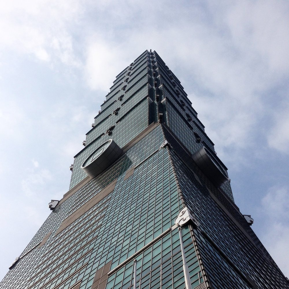 Standing tall and skinny like a bamboo cane. This is Taipei 101.